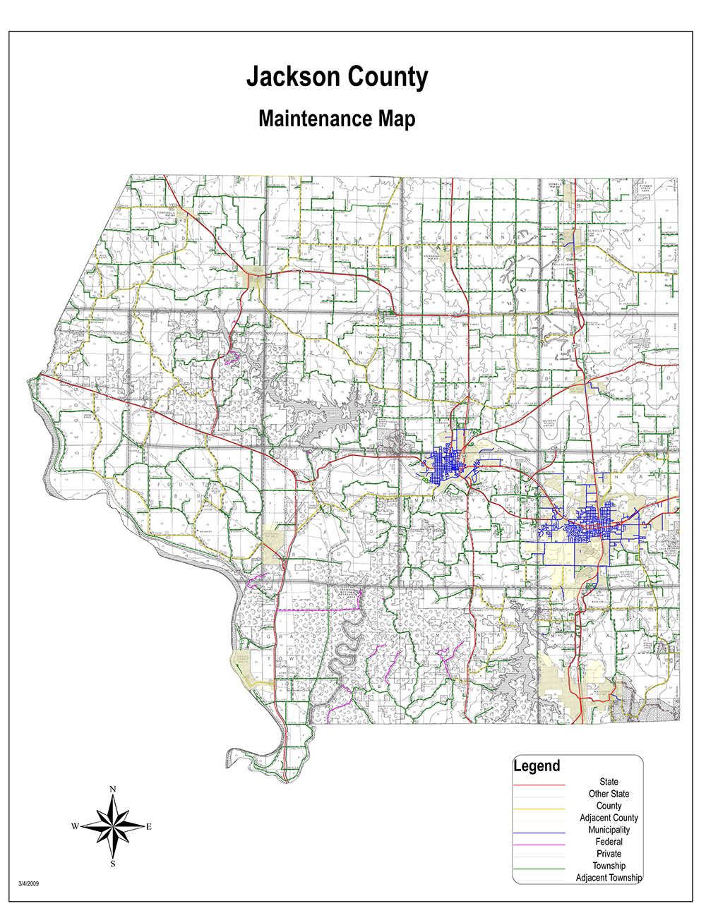 jackson county maintanance map. county highway map  jackson county il